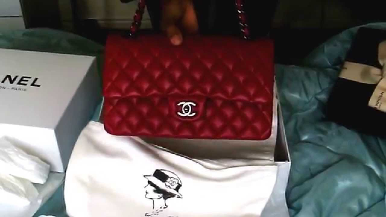 69d2a8bd19f NEW Chanel RED classic FLAP M L RUE DE CAMBON PARIS lambskin - YouTube