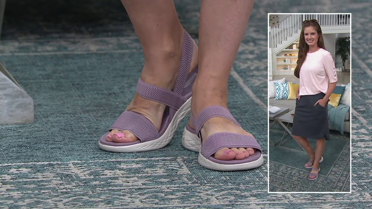 Skechers On The Go Gore Back Strap Sandals Flawless On Qvc Youtube