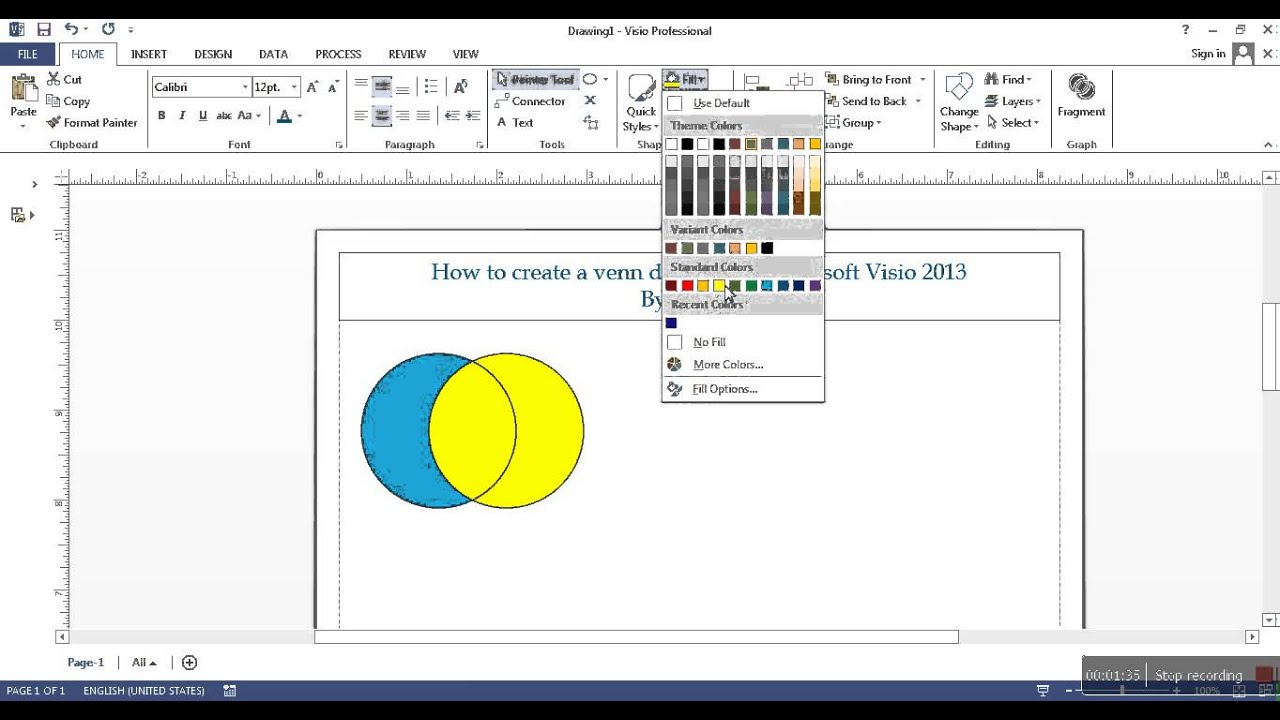 How to create a venn diagram in Microsoft Visio 2013  YouTube