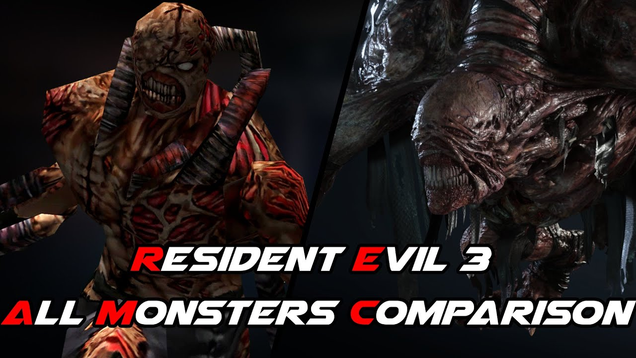 Resident Evil 3 Remake All Monsters Comparison Original Vs