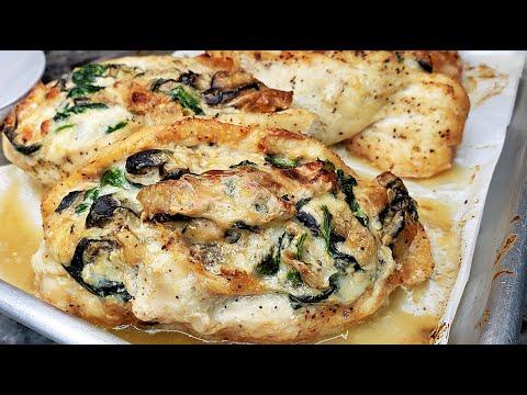 STUFFED CHICKEN | Baked Mushroom Spinach Chicken Breast | Baked Chicken Dinner