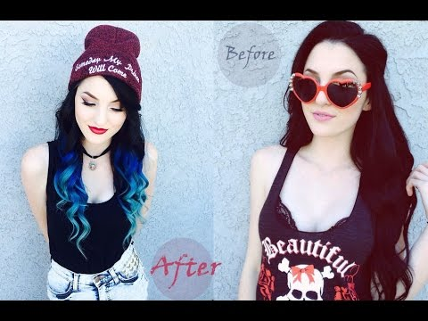 how to dye black to blue colorful ombre hair extensions youtube