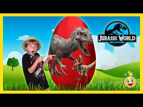 DINOSAUR GIANT SURPRISE EGG OPENING Jurassic World Indominus Rex & T-Rex Toy Unboxing Fun Kids Video
