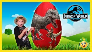 Repeat youtube video DINOSAUR GIANT SURPRISE EGG OPENING Jurassic World Indominus Rex & T-Rex Toy Unboxing Fun Kids Video
