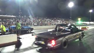 Blue and black Camaro vs Twin Turbo S10 at Redemption 14 8 25