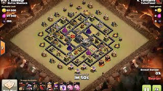 How to 3 star popular internet Th9 base using lavaloon (no heroes needed) - clash of clans
