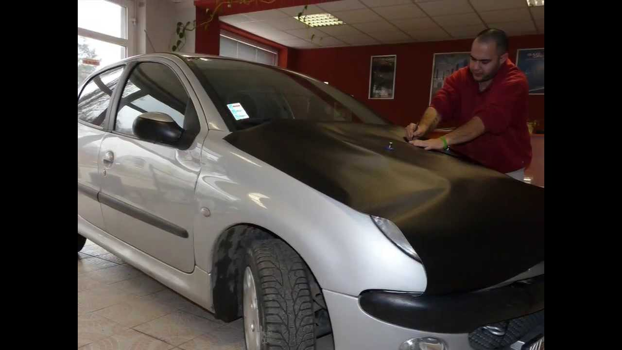 peugeot 206 car wrapping black carbon film zmena farby vozidla youtube. Black Bedroom Furniture Sets. Home Design Ideas