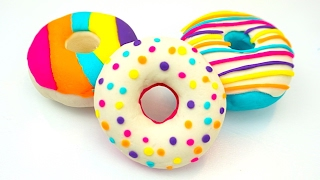 Учимся лепить пончики из пластилина для детей