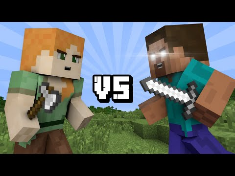 Thumbnail: ALEX vs HEROBRINE (Minecraft Machinima)