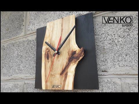 Live Edge Wall Clock   Настенные часы с живым краем