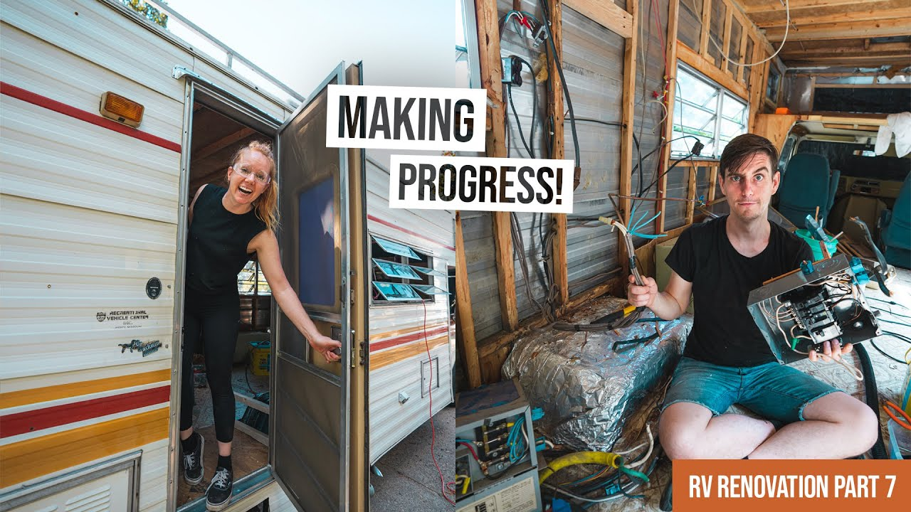 Vintage RV Renovation PART 7! - FINALLY Re-sealing the Door + Removing Old Wiring ⚡️