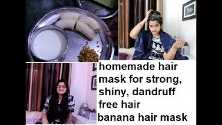 homemade hair mask for strong shiny dandruff free hair banana aloevera fenugreek curd hair mask