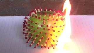 How To BlowUp A Green Apple Using Matches Combo!!