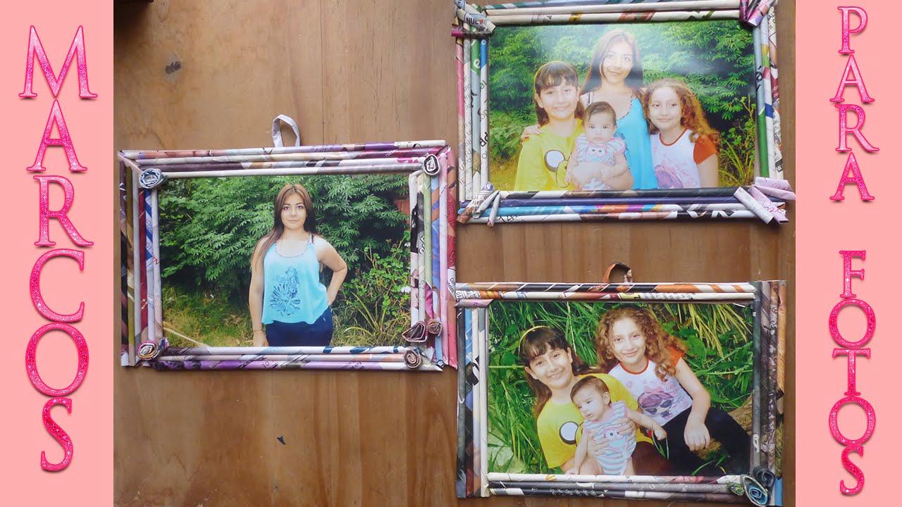 Haz marcos para fotos con papel reciclado manualidad - Marcos rusticos para fotos ...
