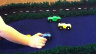 Handmade Crochet Race Track Rug And Wooden Toy Race Car Set