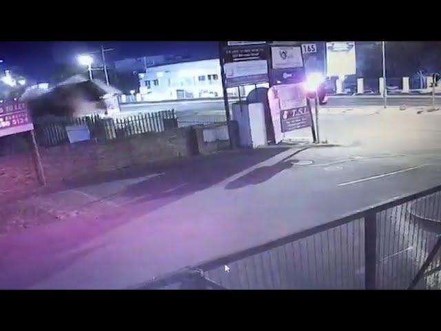 Audi TT flies over Sandton fence, crashes through billboard