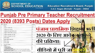 Punjab Pre Primary Teacher Recruitment 2020 (8393 Posts) Dates Apply Online Process & Link