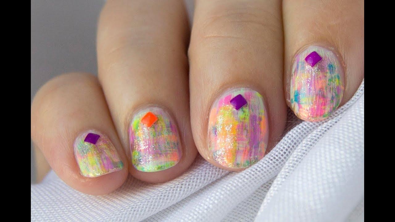 Diseño fácil para uñas cortas neon / Easy short nails neon ...