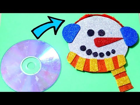 MAKE SNOWMAN FROM OLD CD | BEST OUT OF WASTE COMPETITION IN SCHOOL | CD CRAFT | SNOWMAN CRAFT