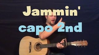 Jamming (Bob Marley) Easy Guitar Lesson How to Play Strum Chords Lead Capo 2nd Fret Tutorial