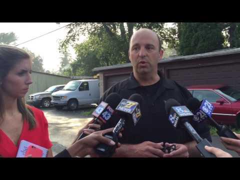 Tom Rudzinski, public information officer for the Lancaster County SERT Team, addresses the media.
