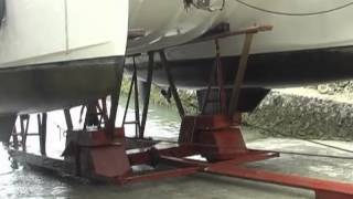 Sailing Catamaran haul-out at Holiday Oceanview Marina on Samal Island, Philippines