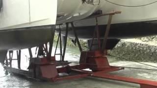 Sailing Catamaran haul-out at Holiday Oceanview Marina on Samal Island, Philippines