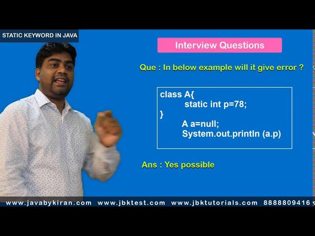 Static keyword in java - revision - interview preparation - Kiran sir - Java by kiran