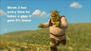Shrek 2 but every time he takes a step it gets 5% faster