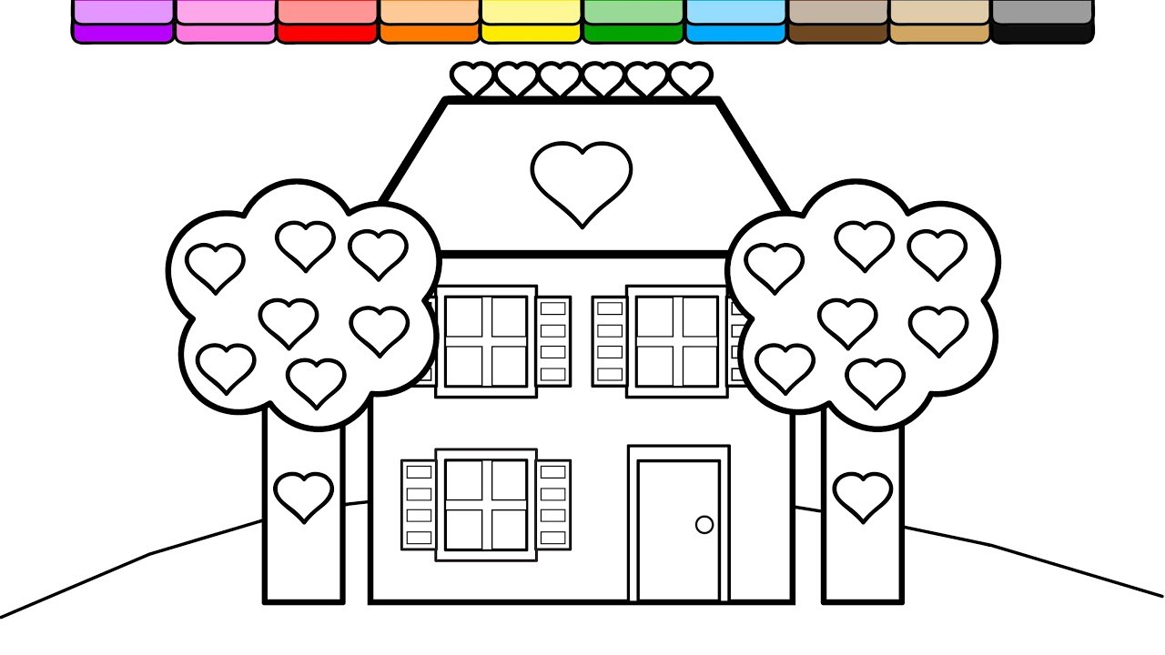 Coloring Purple Brick House and Heart Trees Coloring Page for ...