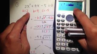 Quadratic Formula (q1.) W/ Calculator Casio Fx 115 Es Plus