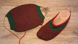 Легкие следки спицами одним полотном | Easy knitting slippers | Hafif örgü terlikleri