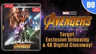 Avengers Infinity War Target Exclusive 4K Ultra HD Blu-ray Unboxing & 4K Digital Giveaway | Marvel