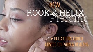 NEW ROOK & HELIX PIERCING + Update on CONCH, Pain, Healing