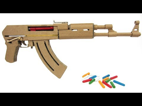 How To Make Cardboard AK47 That Sh00ts - With Magazine