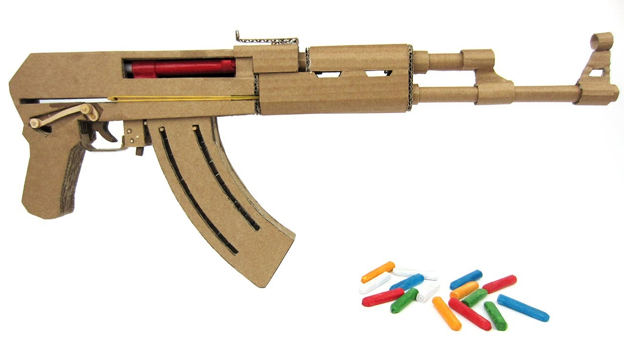 how to make cardboard ak47 that sh00ts with magazine youtube