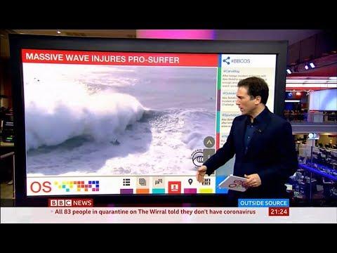 Massive wave injures pro-surfer (Alex Botelho) (Portugal) - BBC News - 12th February 2020