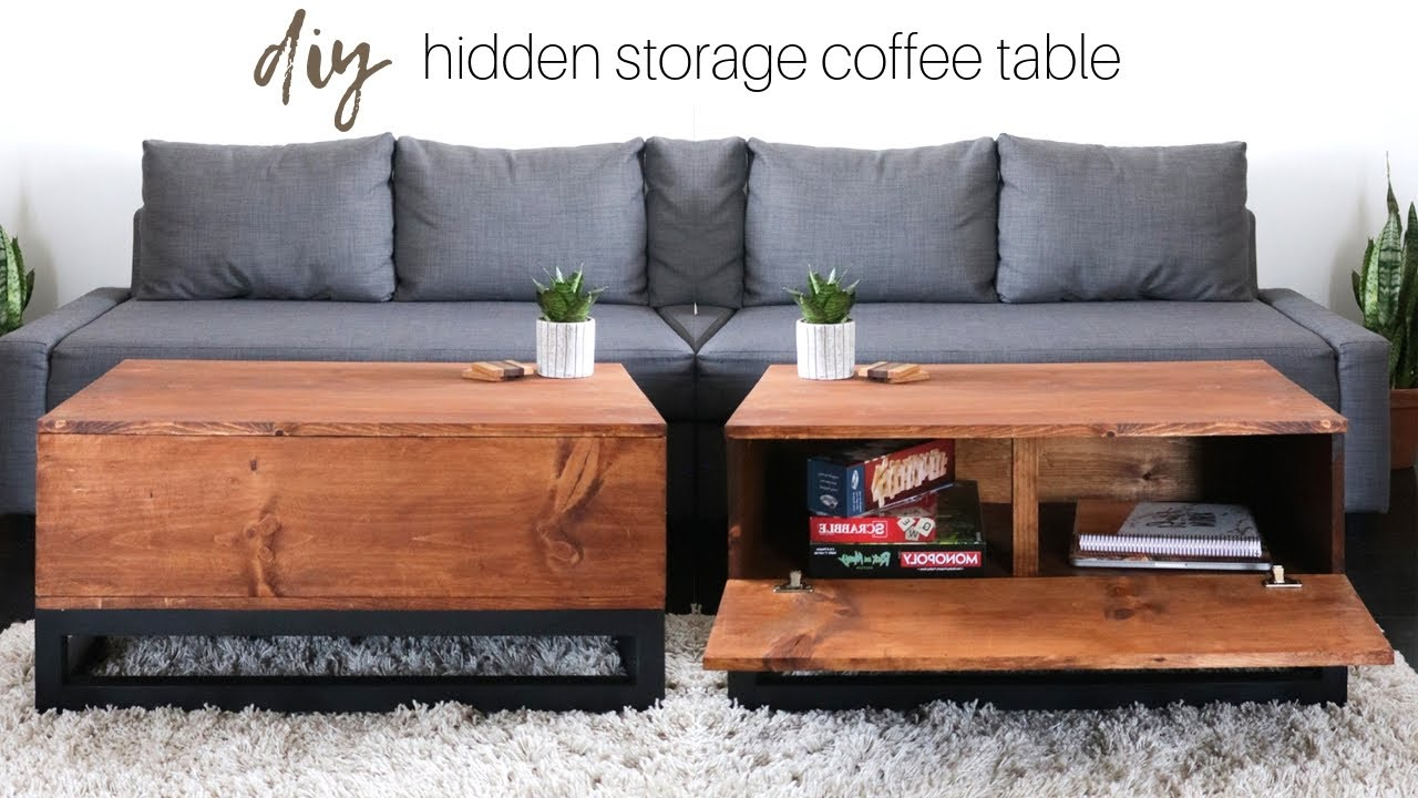 Diy Coffee Table With Hidden Storage How To Build A Table Youtube