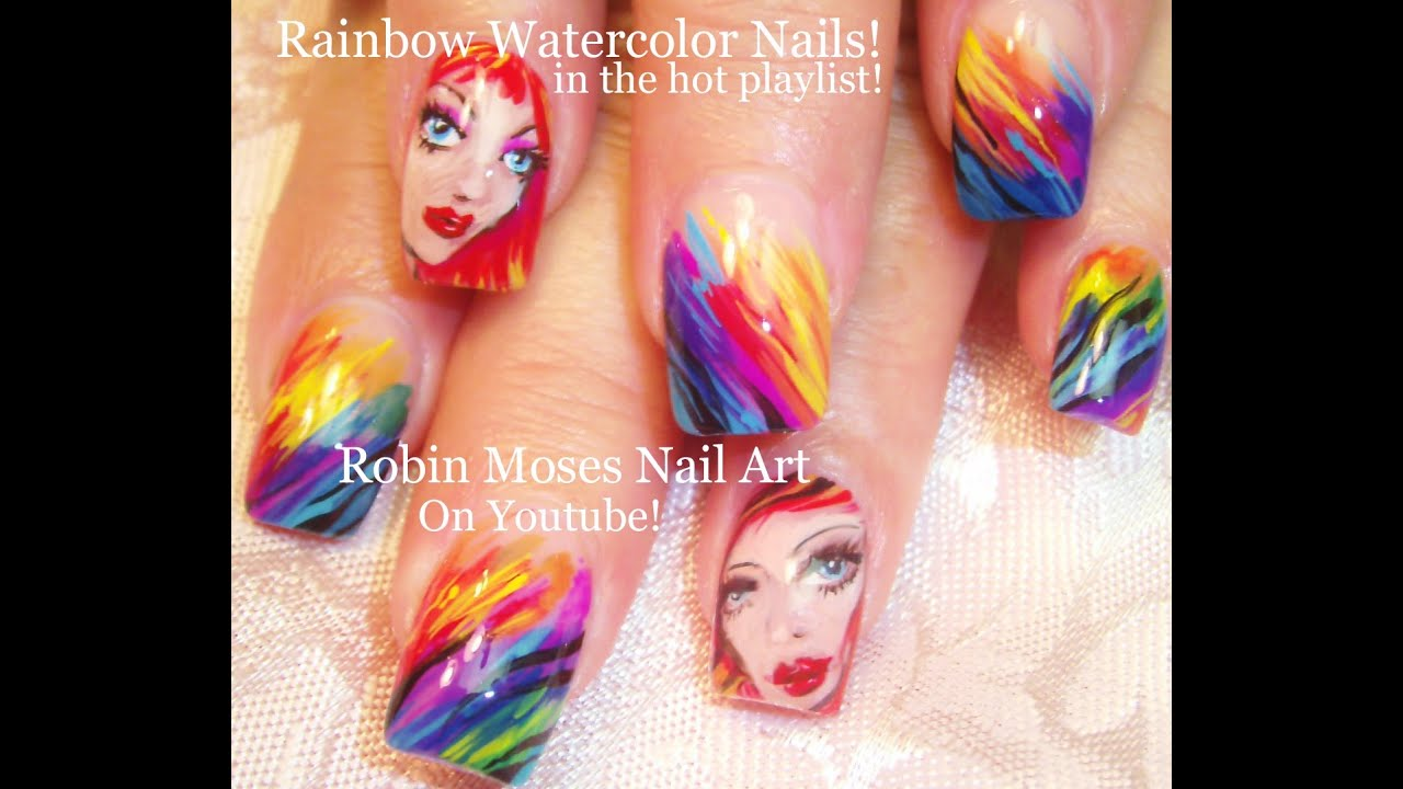 Robin Moses Nail Art Designs: Watercolor Rainbow Nail Art Design
