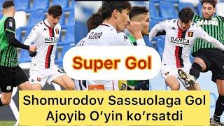 Eldor Shomurodov Sassuolaga Gol Urdi Ajoyib O'yin. 06.01.2021