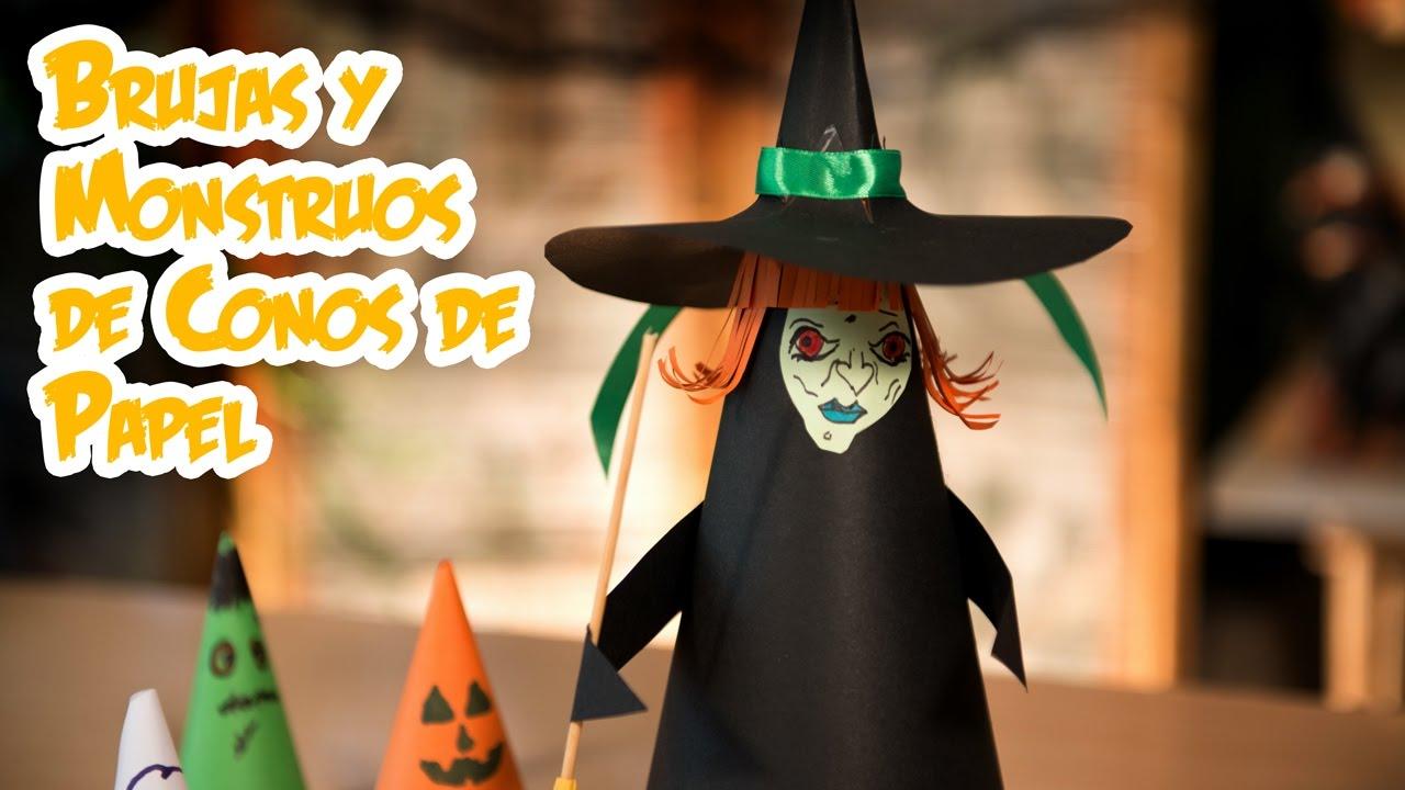 Brujas Y Monstruos De Conos De Papel Halloween Facilisimo Y Barato - Cosas-para-halloween-manuales