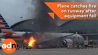 Plane catches fire on runway after equipment fail