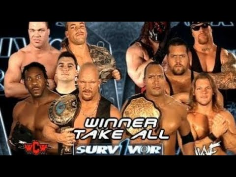 Rock,Undertaker, Kane,Big Show, & Chris Jericho VS Stone Cold, Shane,Kurt Angle,RVD and Booker T thumbnail