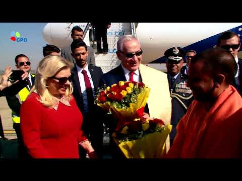 PM Benjamin Netanyahu and his wife Sara arrive in Agra