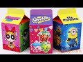 Unboxing Handmade Milk Carton Toys Powerpuff Girls Shopkins Minions Kinder Surprise Eggs for kids
