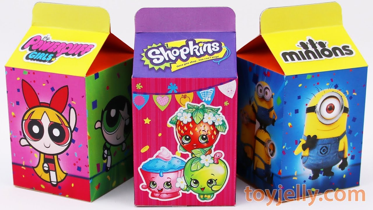 Unboxing Handmade Milk Carton Toys Powerpuff Girls Shopkins Minions