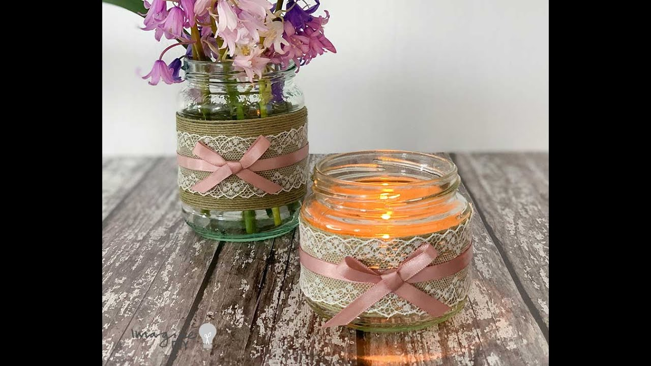 Twine rustic Glass jar lanterns tealight holder candle wedding decor shabby chic