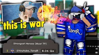 This Youtuber DECLARED a WAR Against The Strongest Player.. Superhero City (Roblox)