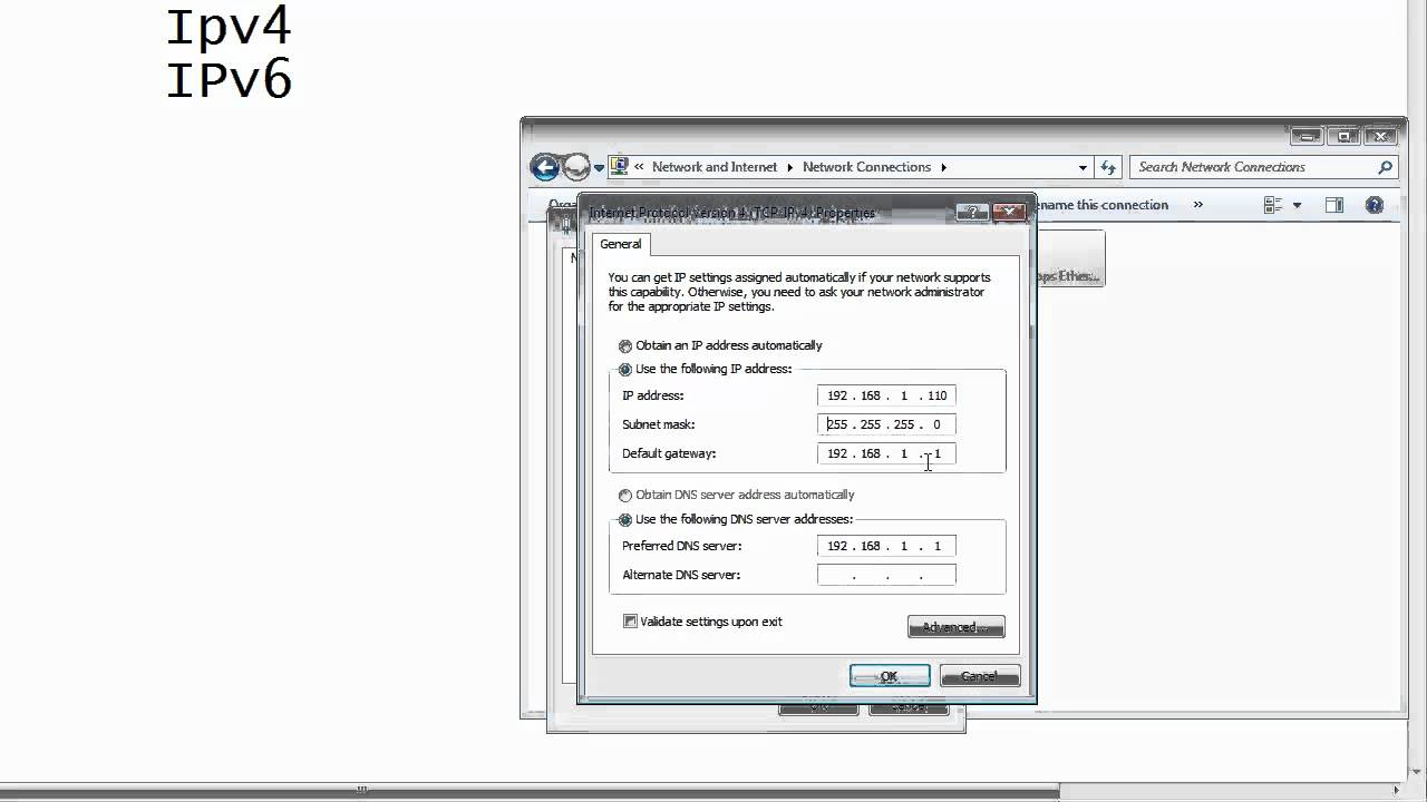 Setting a static ip address in windows 7.