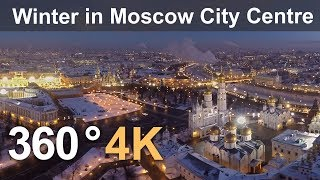 360°, Winter in Moscow City Centre, Russia, 4K aerial video thumbnail